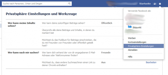 facebookeinstellungen